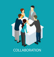 isometric business partnership template vector image vector image