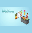 isometric cooking school blog woman chef cooking vector image