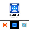 linear letter x logo monogram in box or cube vector image vector image
