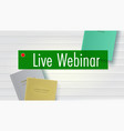 live webinar books lie on table top down view vector image vector image