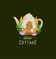 logo teapot herbal cottage floral vector image