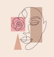 minimal woman face and geometric shapes vector image vector image