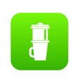 mug for coffee icon digital green vector image vector image