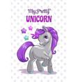 my pretty unicorn cute childish vector image vector image