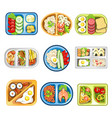 nutritious complex lunches in convenient plastic vector image vector image