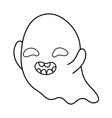 outline funny ghost character with closed eyes vector image