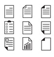 paper icon on white background set paper icon vector image vector image