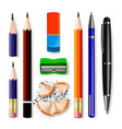 pen pencil stationery set sharpened vector image