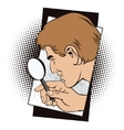 People in retro style Man with magnifier vector image