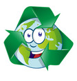 planet earth cartoon character on recyclin symbol vector image vector image