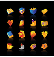 Realistic icons set for books and papers vector image