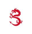 Red Dragon Prancing Silhouette Retro vector image vector image
