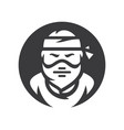 robber masked criminal silhouette sign vector image