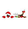 santa and a reindeer in sunglasses 1 vector image vector image