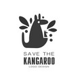 save the kangaroo logo design protection of wild vector image