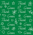 seamless pattern with think green text vector image