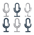 Set of hand-drawn microphone icons brush drawing vector image