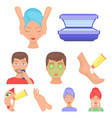 skin care set icons in cartoon style big vector image vector image