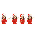 surprised christmas woman vector image vector image