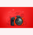 travel with red camera and doodle elements vector image