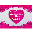 Valentine love card with pink heart footer vector image vector image
