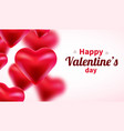 valentines day background with red 3d hearts cute vector image vector image