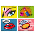 vintage comic pop art makeup and cosmetic vector image vector image