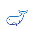 whale marine life thick line blue vector image