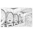 Wine barrels in cellar vintage old looking
