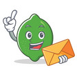 with envelope lime character cartoon style vector image