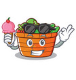 with ice cream fruit basket character cartoon vector image