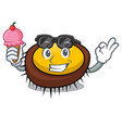 with ice cream sea urchin character cartoon vector image