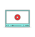 color linear video player interface vector image