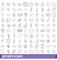 100 info icons set outline style vector image vector image