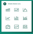 9 statistic icons vector image vector image