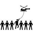 A person is picked by helicopter vector image vector image