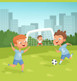 active children playing football outdoor vector image vector image