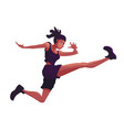 african american woman in a sporty suit is jumping vector image