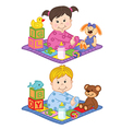 baby boy and girl sit on carpet with toys vector image
