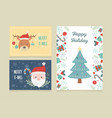 banners tree deer santa claus celebration happy vector image vector image