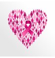 Breast cancer awareness ribbon women heart shape vector image vector image