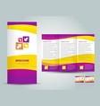 brochure tri-fold layout design template yellow vector image