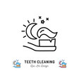brushing teeth night toothbrush with toothpaste vector image vector image