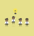 businessman flying out by light bulb of idea vector image vector image
