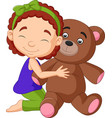cartoon little girl hugging teddy bear vector image vector image