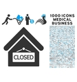 Closed Office Icon with 1000 Medical Business vector image vector image