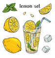 cool lemonade in a glass cup with ice and mint vector image vector image