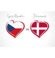 czech republic vs denmark flag emblem vector image vector image