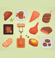 different beef steak raw and grilled meat food vector image