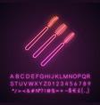 disposable mascara wands neon light icon vector image vector image